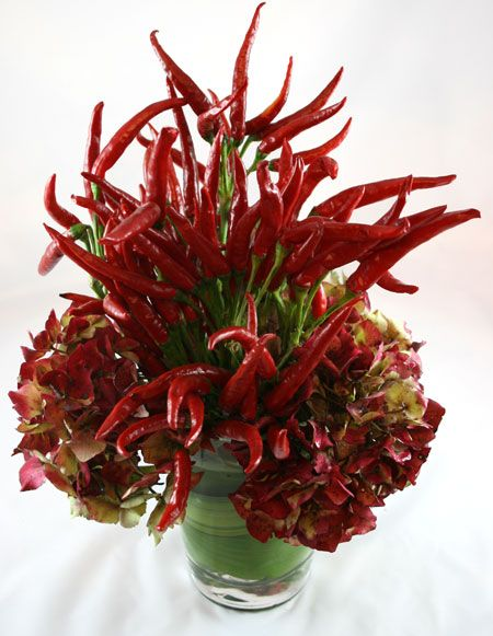 Red Hot Chili Pepper Floral Arrangement Floral Design With Fruits