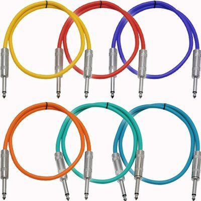 Seismic Audio Sastsx 3 6 Pack 3 Foot Ts 1 4 Guitar Instrument Or Patch Cables Colored By Seismic Audio 28 99 T Effects Unit Sound Stage Instruments
