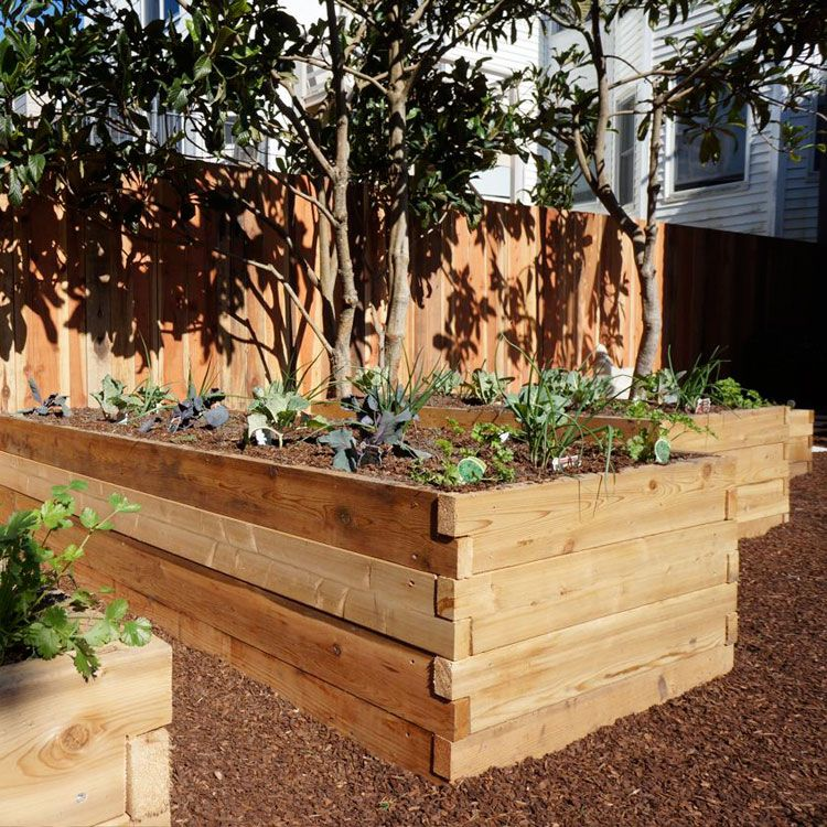 Cedar Raised Bed Garden. Like the look of the notched