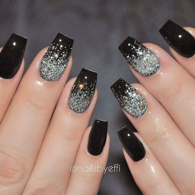 Black glitter nails designs do not lose their popularity. We have created a  photo gallery where you can find glam nail art ideas in black. - 27 Black Glitter Nails Designs That Are More Glam Than Goth Uñas