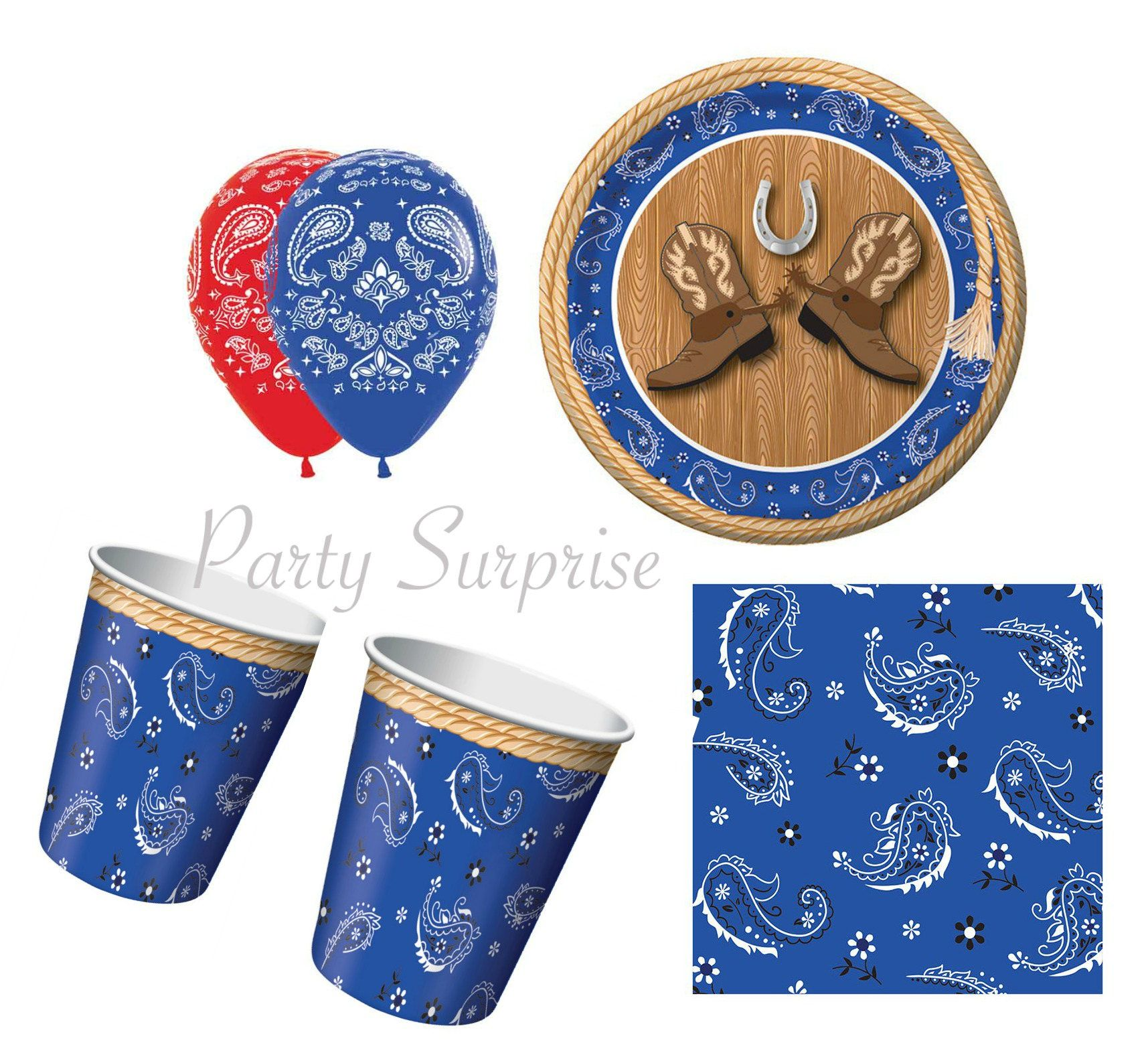 Western Red Bandana 9 oz Hot Cold Paper Cups 8 Pack