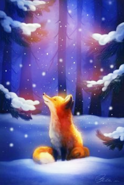 Dessin Renard Fox Neige Snow Christmas Foret Arbre Tree