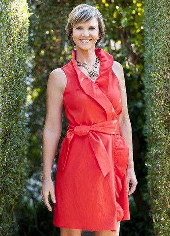 Designer ruffled coral wrap dress