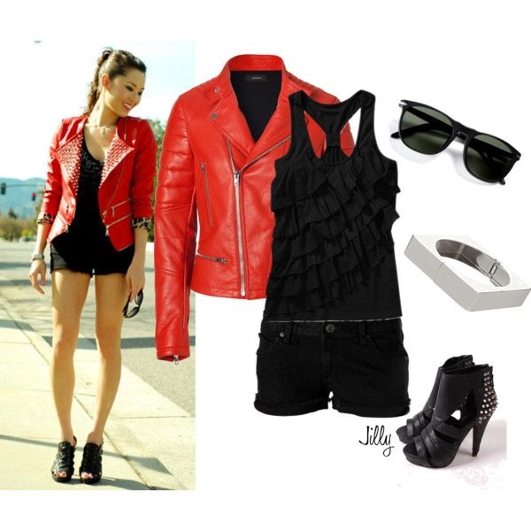 """""""Red Motorcycle Jacket"""" by jillgrimm on Polyvore"""