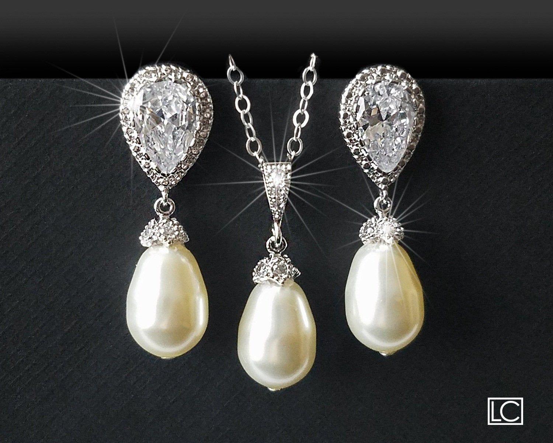 Wedding Pearl Jewelry Set, Swarovski Ivory Pearl S