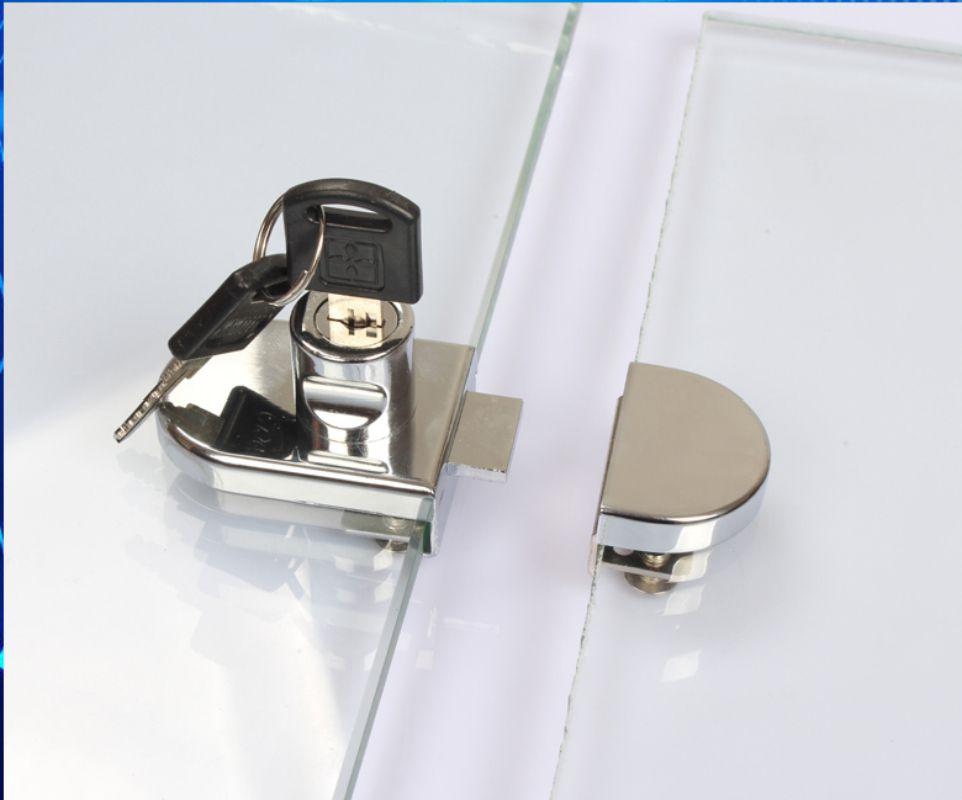 Hot Glass Display Cabinet Showcase Locks Zinc Alloy 5 8mm Glass Single Double Door No Need Drilling Glass Cabinets Display Double Glass Doors Glass Door Lock