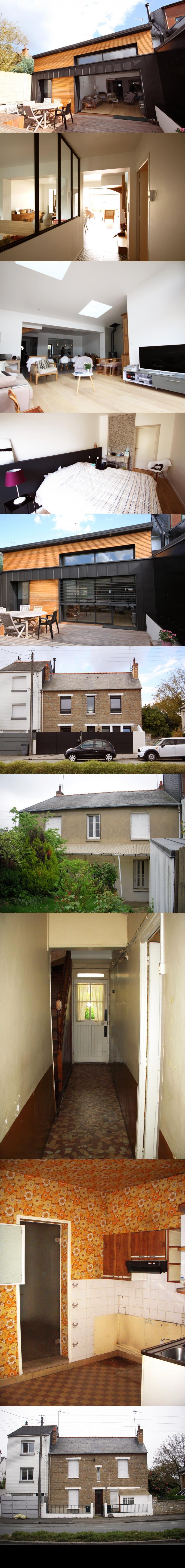Rénovation et extension d\'une maison de ville Rennes : Lieu ...