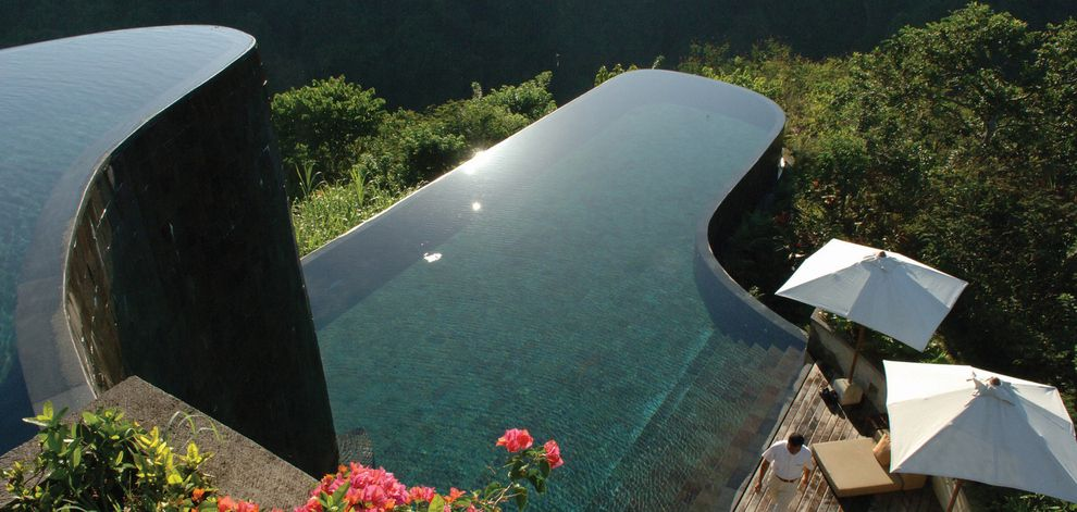 Ubud Hanging Gardens, Indonesia. Ubud's infinity-edge swimming pool stands on two levels, perched over the spectacular rain forest.