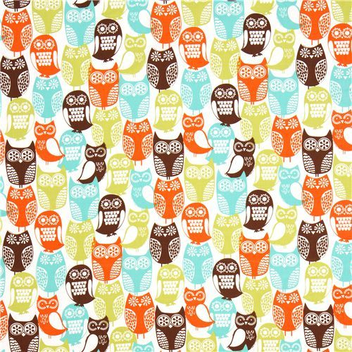 white Michael Miller owl fabric Swedish Owls