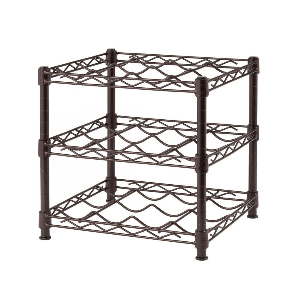 3-Shelf Countertop Wire Wine Rack in Antique Bronze | Wire wine rack ...