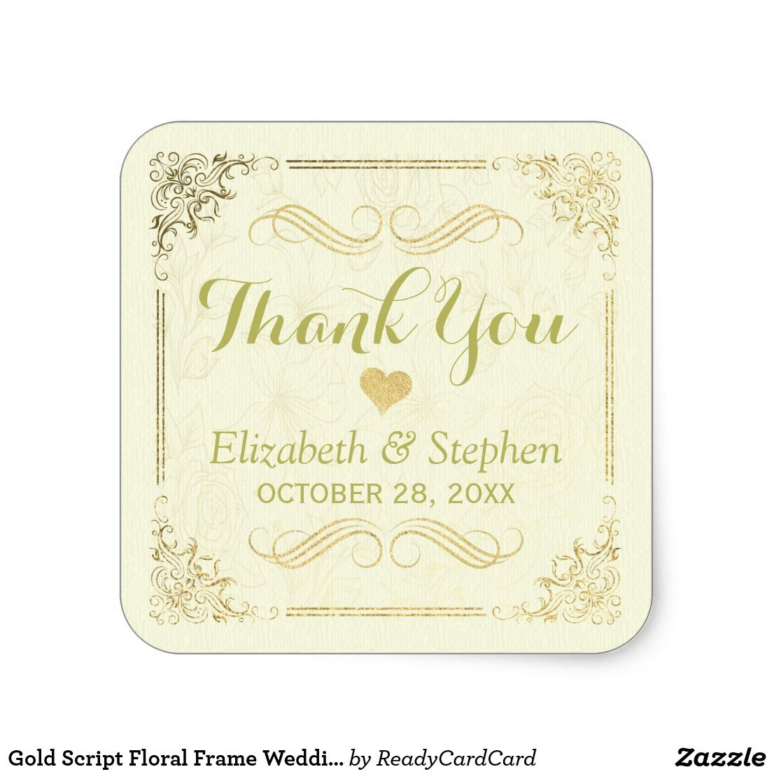 Gold Script Floral Frame Wedding Thank You Favor Square Sticker ...