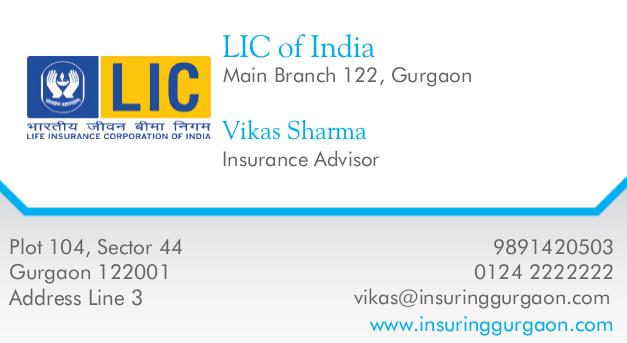 Visiting Card Lic Agent Gurgaon Designs Of Visitng Cards Visiting Cards Visiting Card Design Cards