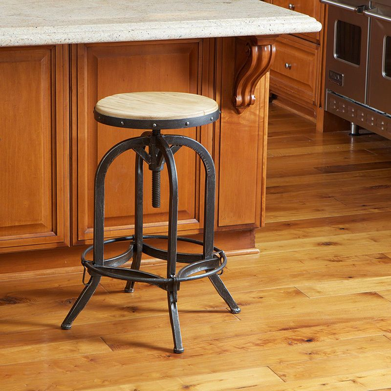 Details About Industrial Metal Design Adjustable Height Swivel Stool In  Distressed Black