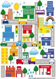 Dibujos De Ciudad Para Imprimir Imagenes Y Dibujos Para Imprimir Paper City Map Art Illustration City Decor