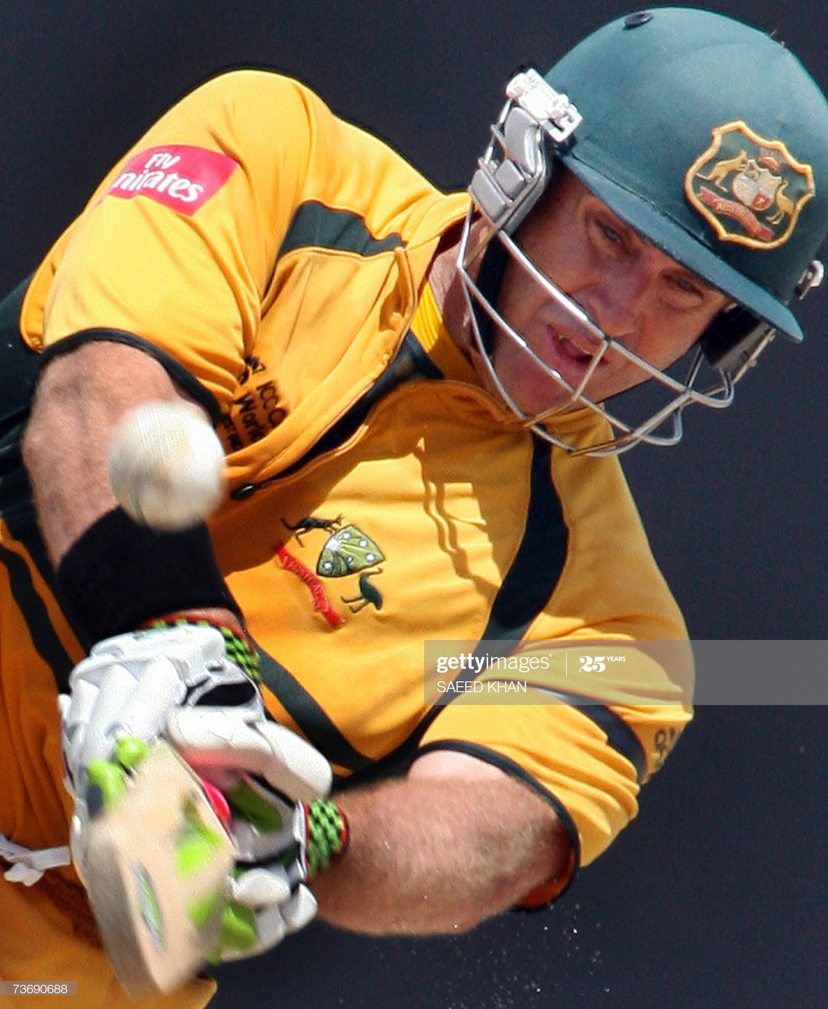 News Photo Australian cricketer Matthew Hayden hits for