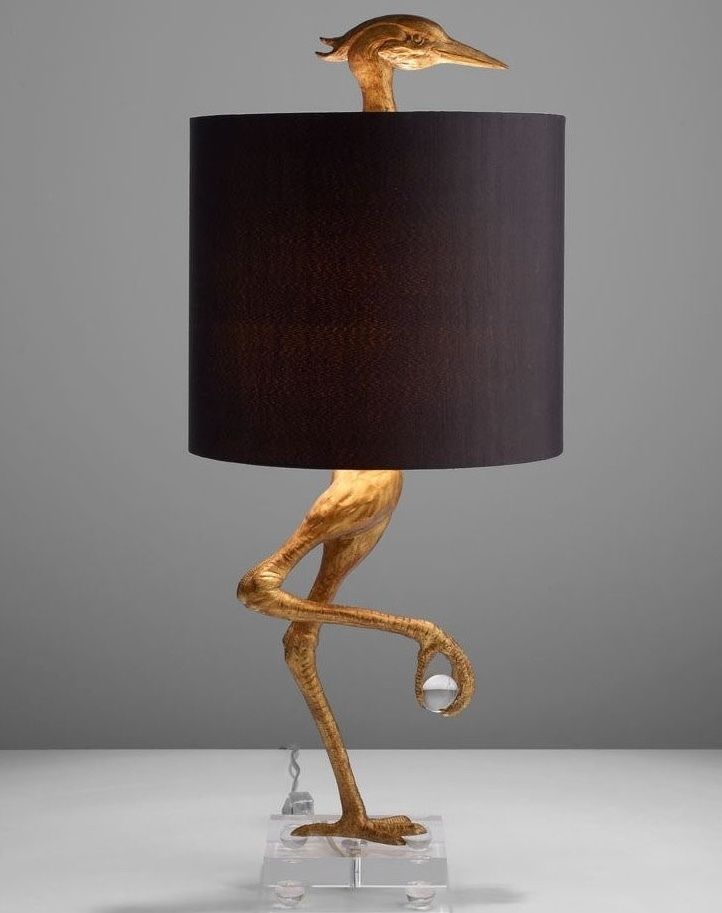 New ibis ostrich sculpture table lamp gold and black heron crane bird living room bedroom light contemporary modern traditional transitional bedroom