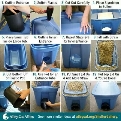 For A Cat Simple Plastic Bin Shelter