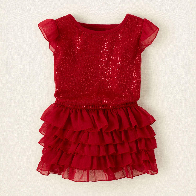 baby girl dresses tiered sequin mesh dress