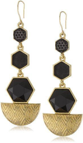 House of Harlow 1960 14k Gold-Plated Hexagon Drop Earrings