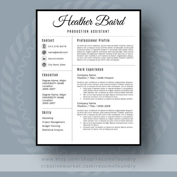 Stylish Resume Template - the Heather Resume cover letters, Modern