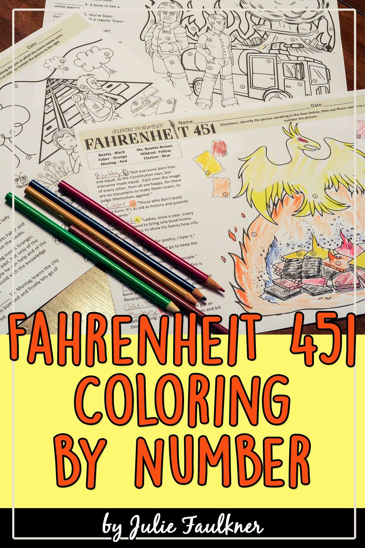 Fahrenheit 451 Coloring By Number Pages Fahrenheit 451 Color