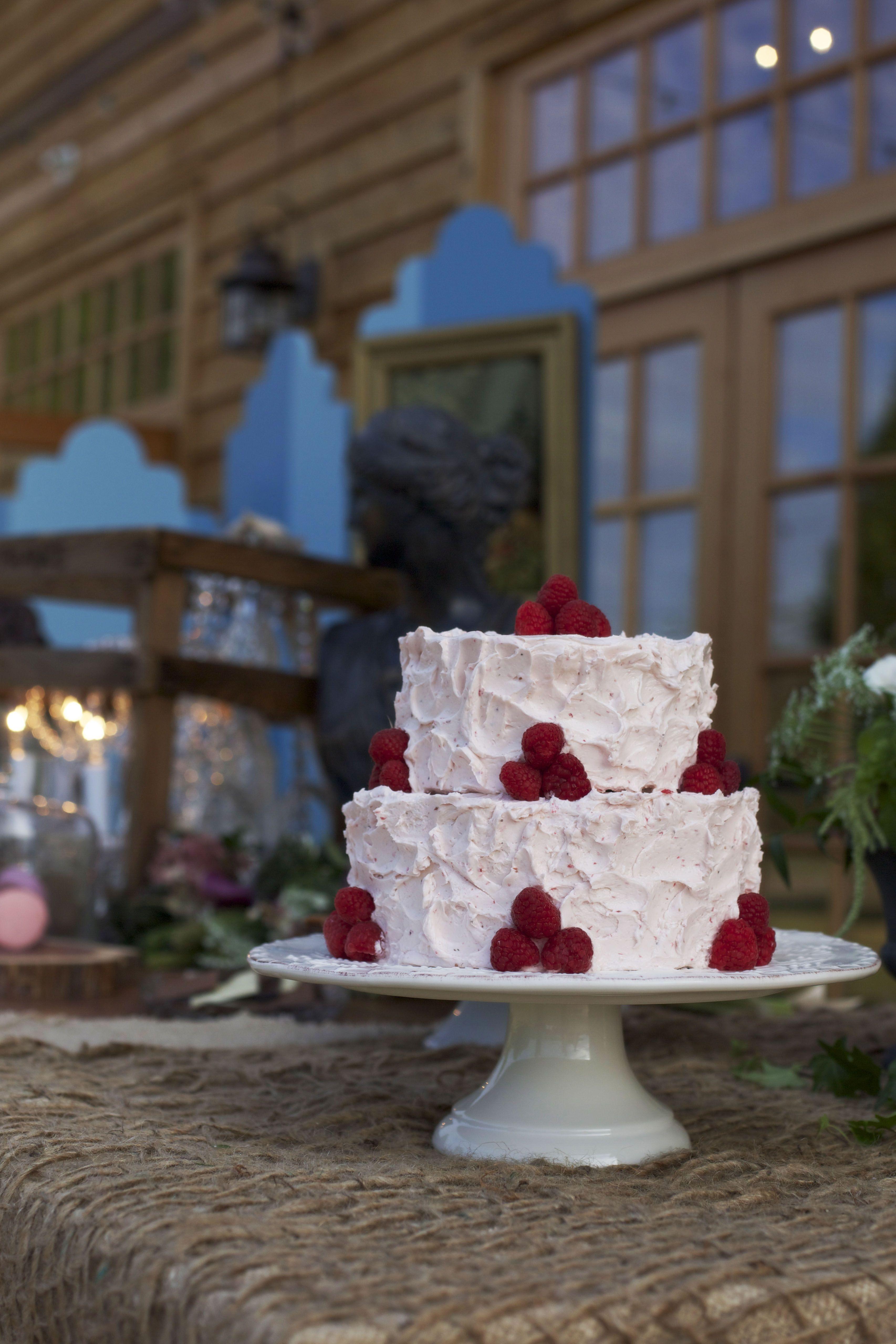 Raspberry Wedding Cake Charlotte NC Rustic Southern Wedding