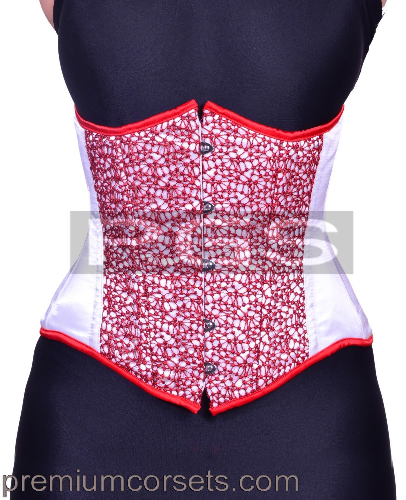 Details about White Satin Red Mesh Underbust Steel Boned