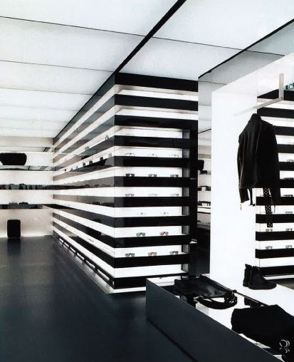 This Interior Is So Cool The Black And White And Horizontal Lines Help Bring A