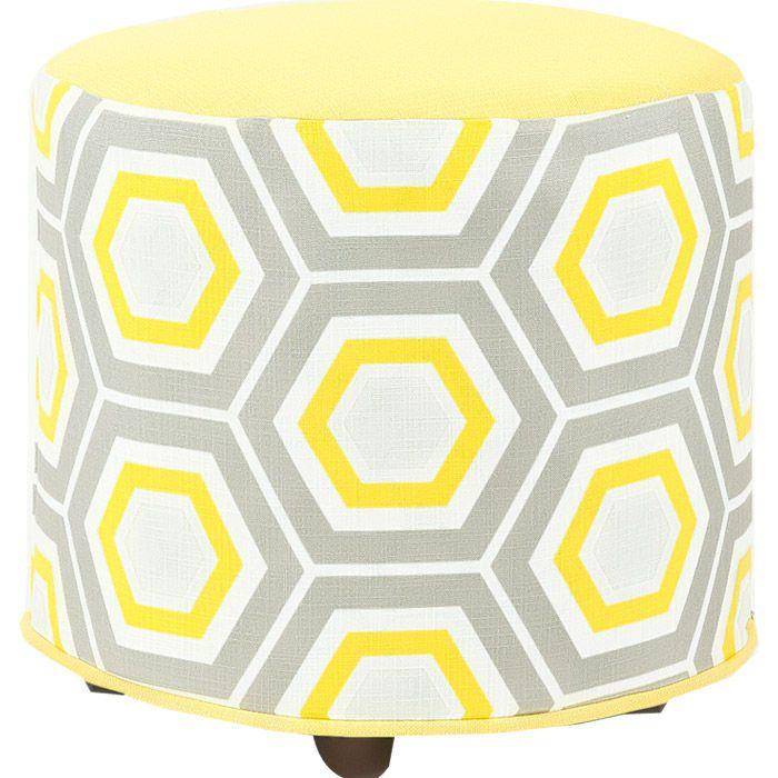 Yellow and grey ottoman