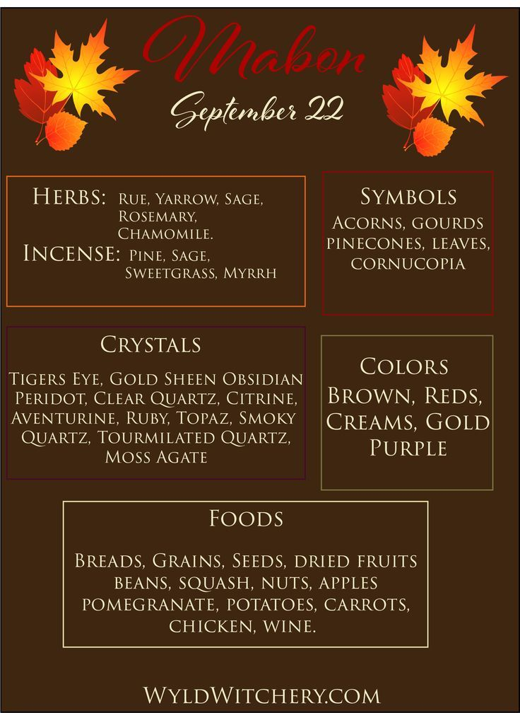 Mabon Correspondences  Herbs, Incense, Symbols, Crystals, Colors, Foods. #maboncelebration