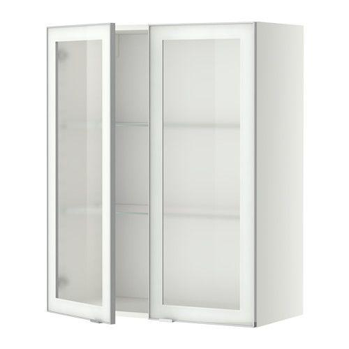 METOD Bovenkast m planken/2 vitrinedeuren - wit, Jutis frosted glas/aluminium, 80x100 cm - IKEA