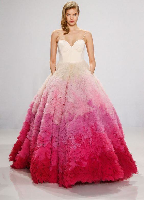 Striking Spaghetti Strap Pink Ombre Wedding Dress Featured Siriano