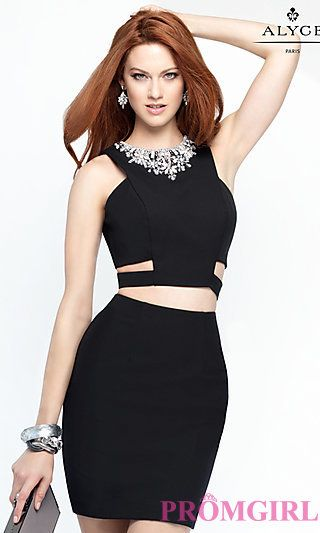 f502a5266e Two Piece Party Dress with Cut Outs by Alyce at PromGirl.com