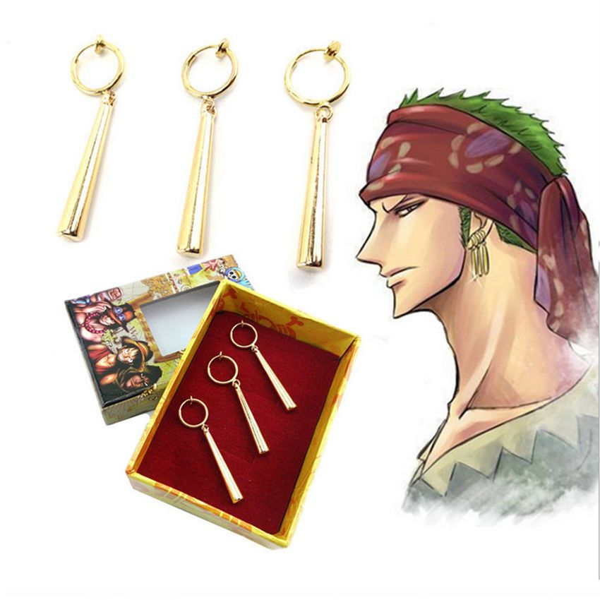 Photo of Anime One Piece Zoro Earring Ear Clip Metal Charm Pendant Cosplay Gift 3pcs/box  | eBay