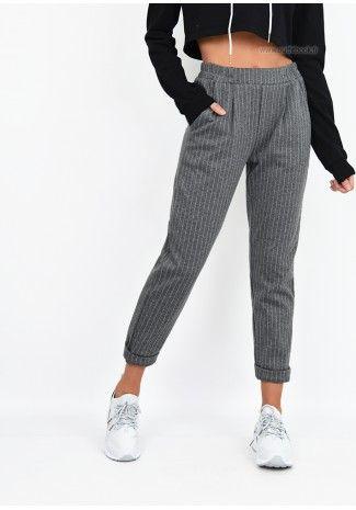 ChevilleStyle Gris Pantalon Rayé Longueur Et FashionPants D9YHeWE2I
