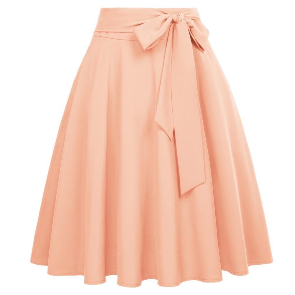 Falda acampanada con nudo de lazo con lazo Falda con volantes de cintura alta de color sólido adornada  – Moda