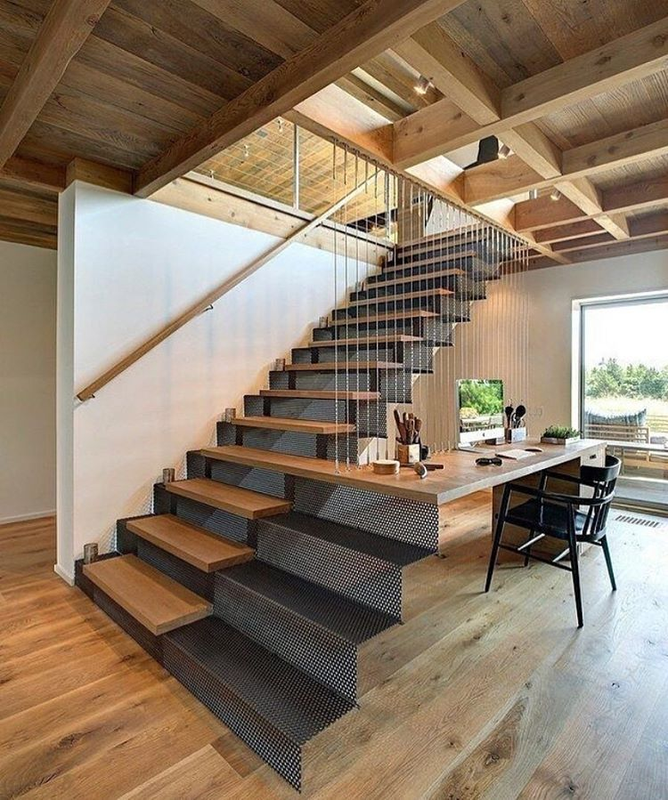 This #stairs into a #table with the #metal #mesh works really well  #stair #staircase #desk #deskdecor #metalwork #woodwork #wood #woodworking #wooden #carpenter #carpentry #joinery #tradesman #tradie #tools