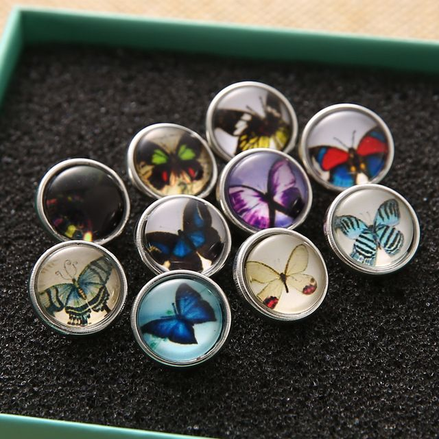 10pcs/lot 2016 New 12MM Snap Button Jewelry Glass Ginger ...