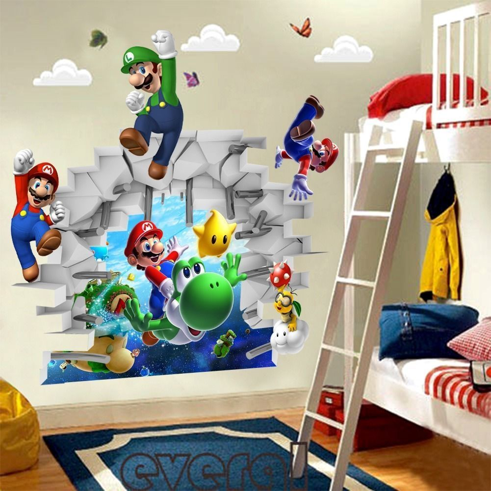 D view Super Mario Games Art Kids room decor Wall sticker wall