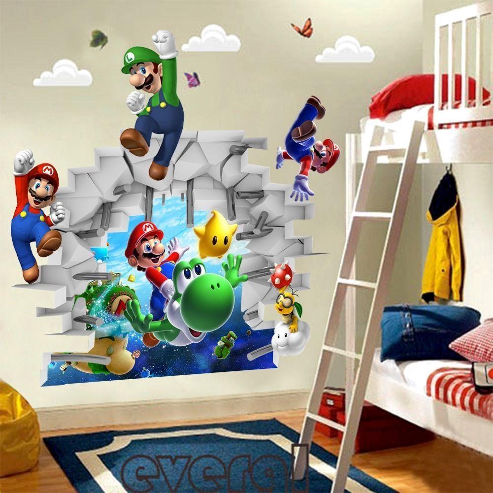 D view Super Mario Games Art Kids room decor Wall sticker wall