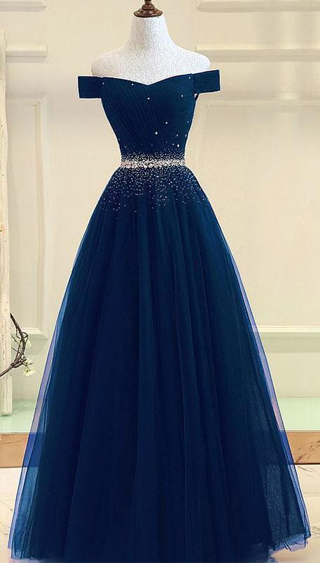 Tulle prom gown,off shoulder prom dresses,long prom dress,a line evening dress