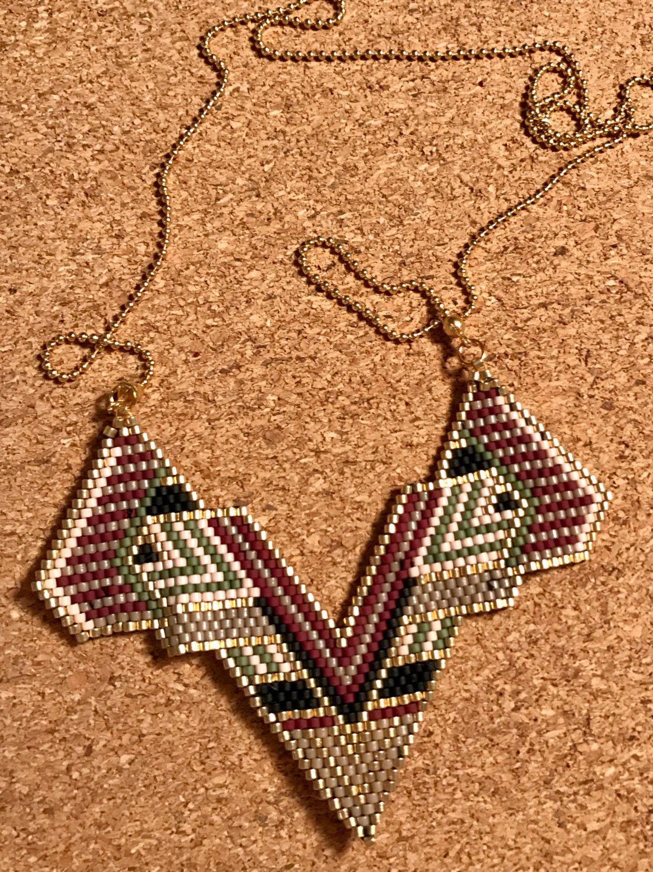 Miyuki necklace weaved by hand with miyuki beads. Brickstitch ...