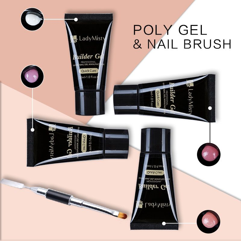 Ladymisty Poly Gel 30ml Acrylic French Kit Soak off UV Jelly Clear ...