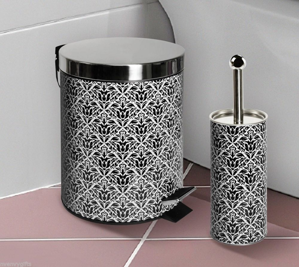 Black damask stainless steel bathroom waste basket trash for Waste baskets for bathroom
