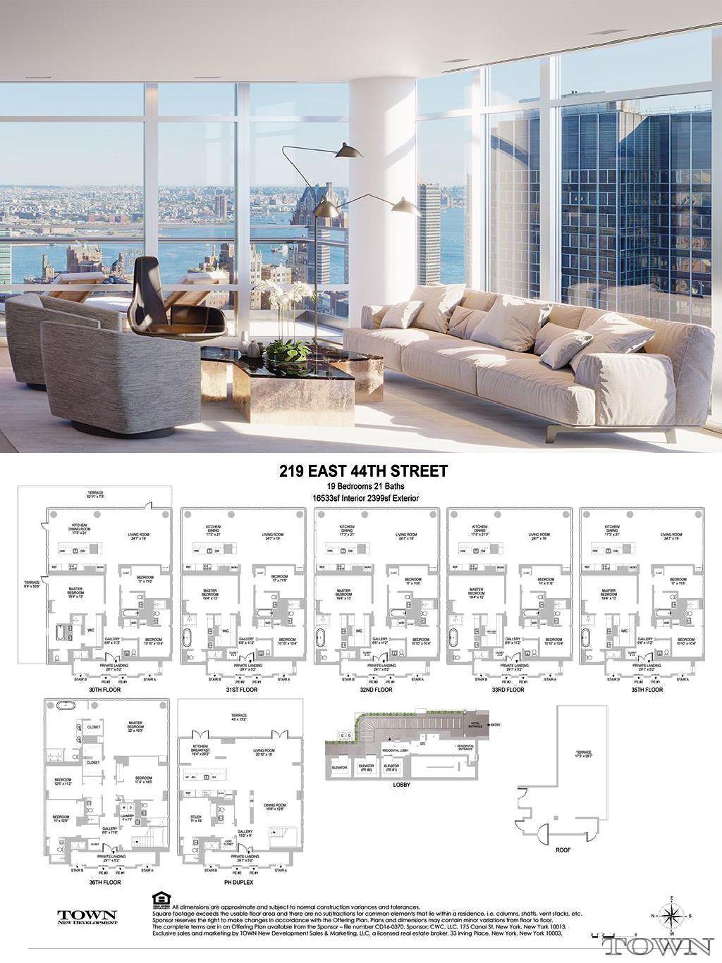 219 East 44th Street Interiors Apartment Floor Plans Pent House Apartment