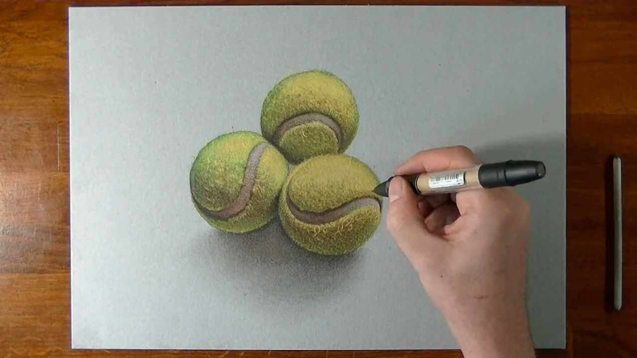 How To Draw 3d Tennis Balls Ball Drawing Teaching Art Art Theme