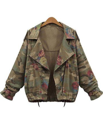 a9a8878f1ac Women Long Sleeve Lapel Zipper Rose Print Camouflage Jacket - Newchic Plus  Size Outerwear Mobile.