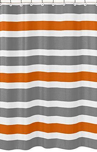 grey and orange shower curtain. Amazon Com  Gray Orange And White Kids Bathroom Fabric Bath Teen Stripe Shower Curtain Home Kitchen Str Http