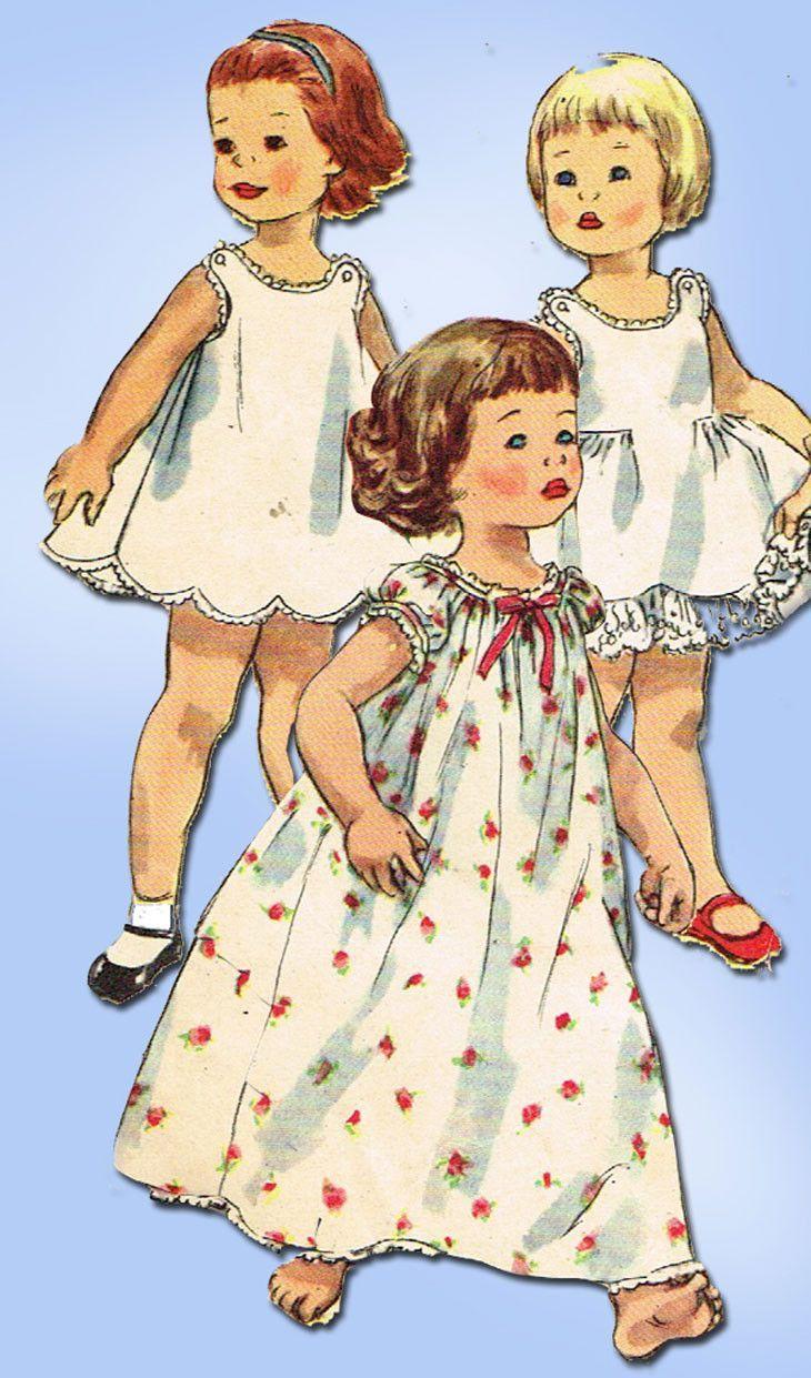 1950s Vintage Simplicity Sewing Pattern 1563 Uncut Toddler Girls ...
