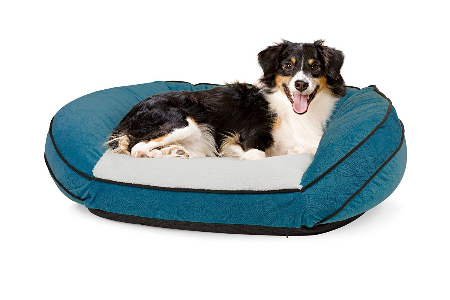 Precious Tails Teal Orthopedic Pet Bed Cresent Curved Bolster Comfy Baby Memory Foam Lounger Cuddler Sofa Couch With Sherpa And Center Seat 40x29x115 Hurry